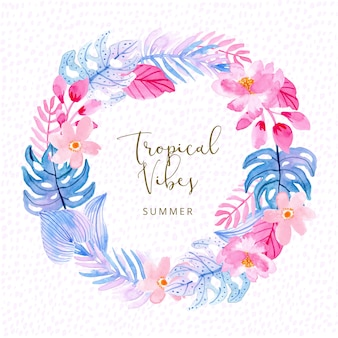Pink blue tropical summer plant watercolor wreath