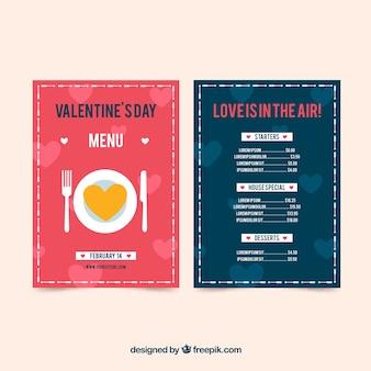 Pink and blue valentine menu design