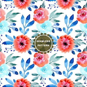 Pink and blue watercolor flower seamless pattern