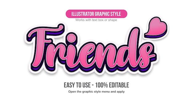 Pink bold 3d cursive cute text effect