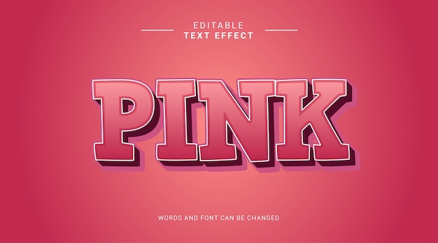 Pink bold 3d editable text effect template