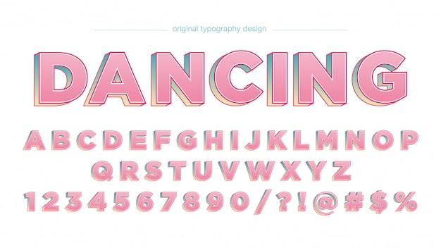 Pink bold 3d uppercase artistic font