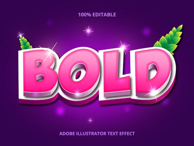 Pink bold text, editable font effect