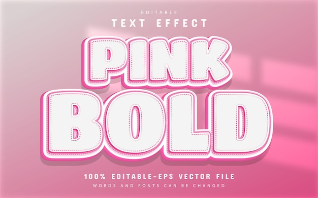 Pink bold text effect editable