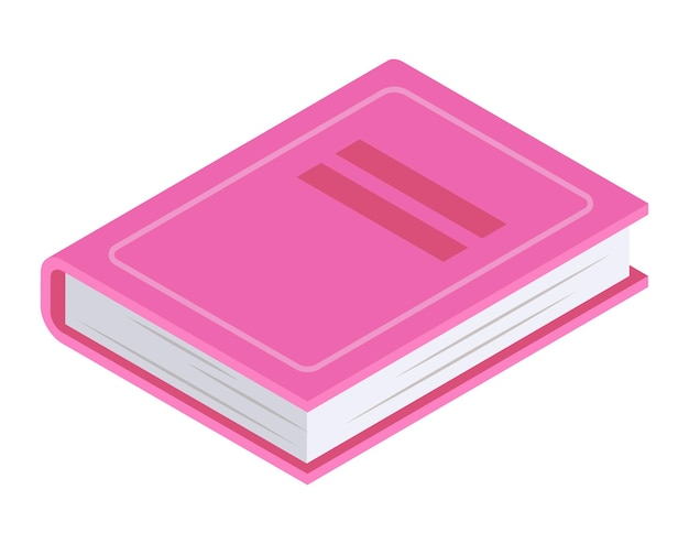 Pink book lying, concept volume icon and girl diary