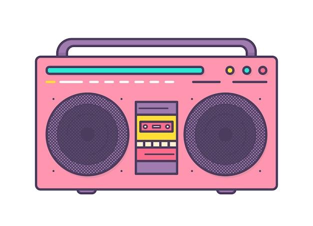 ピンクのラジカセ、スピーカー、キャリングハンドル、カセットレコーダーが統合されたポータブルミュージックプレーヤー