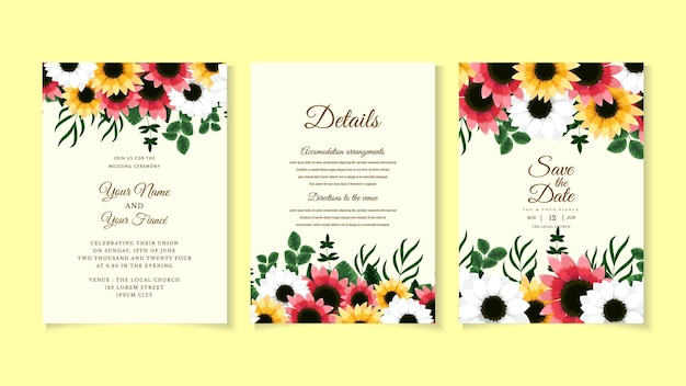 ピンクの植物の花の結婚式の招待カードテンプレートと野生の花の葉花ベクトルレイアウト