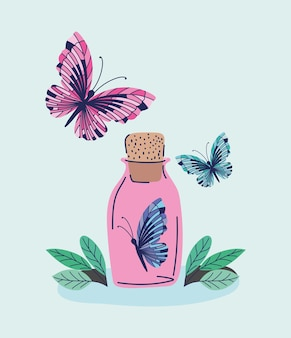 Pink bottle with one butterfly in it and two more butterflys illustration design