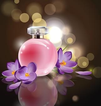 흐릿한 배경에 봄 꽃 크로커스가 있는 분홍색 병 여성용 향수. 벡터 템플릿