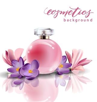 봄 꽃 크로커스와 핑크 병 여성 향수. 벡터 템플릿