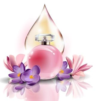 봄 꽃 크로커스와 핑크 한 방울의 핑크 보틀 여성 향수. 벡터 템플릿