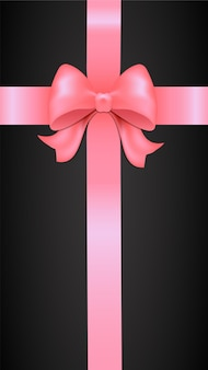 Pink bow on a black background pink bow with ribbon pink ribbon with bow gift box bow on gift