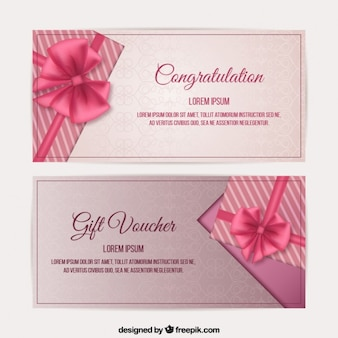 Pink bow gift voucher set