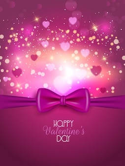 Pink bow valentine day background