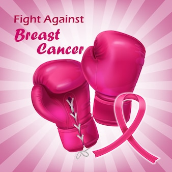 Pink boxing gloves in realistic style