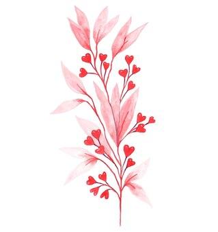 하트 모양의 붉은 열매 장식 핑크 지점