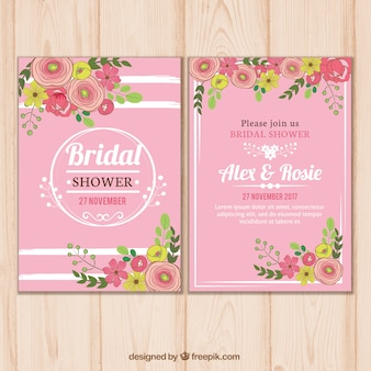Pink bridal shower invitation template with floral decoration