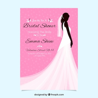 Pink bridal shower invitation with female silhouette and wedding dress