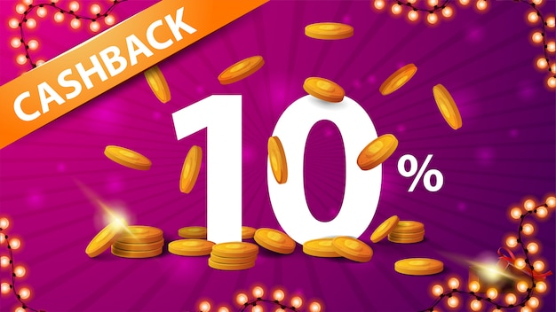 Pink bright cash back banner with large volumetric numbers of percent 10 with gold coins around and gold coins falling from the top