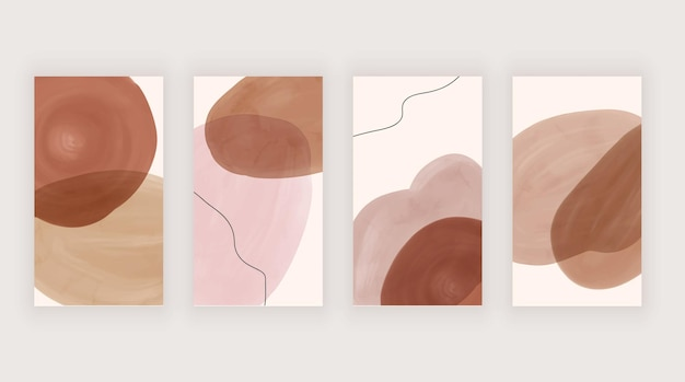 Pink and brown watercolor backgrounds for social media stories