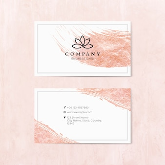 Pink brush stroke on a business card template