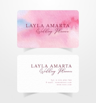 Pink brushstrokes watercolor business card template
