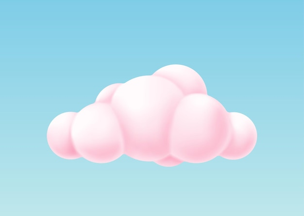 Pink bubble cloud isolated on blue background. 3d render sky or decoration element design. realistic round shape fluffy cloud. vector illustration