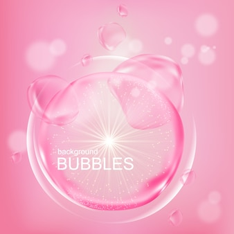 Pink bubbles water essence in flat design
