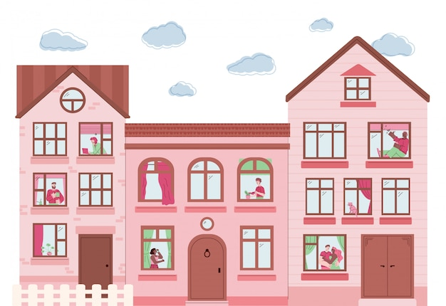 Pink buildings exterior with people in windows - flat vector illustration.