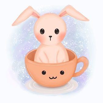Pink bunny in a cup illustration for nursery decoration