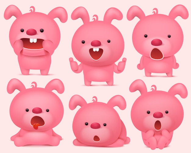 Pink bunny emoji characters set with different emotions.
