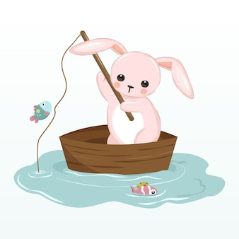 Pink bunny fishing in the lake illustration for nursery decoration