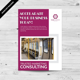 Pink business brochure with white details