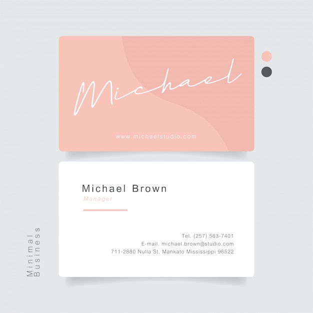 Pink business card hand drawing name with minimal pastel.