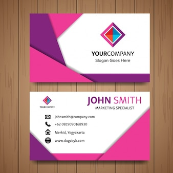 Pink business card with geometric shapes