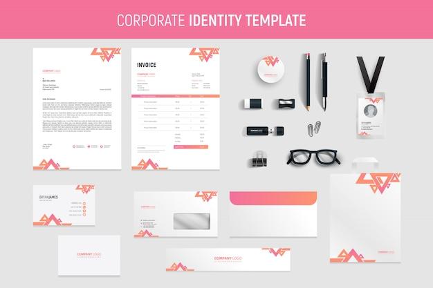 Pink business stationery set