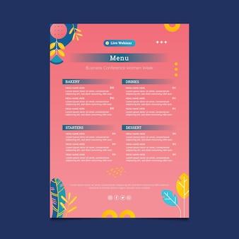 Modello di menu rosa imprenditrice