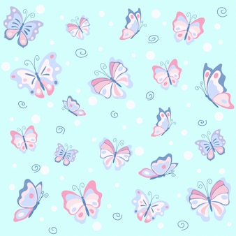 Pink butterfly in the blue seamless pattern