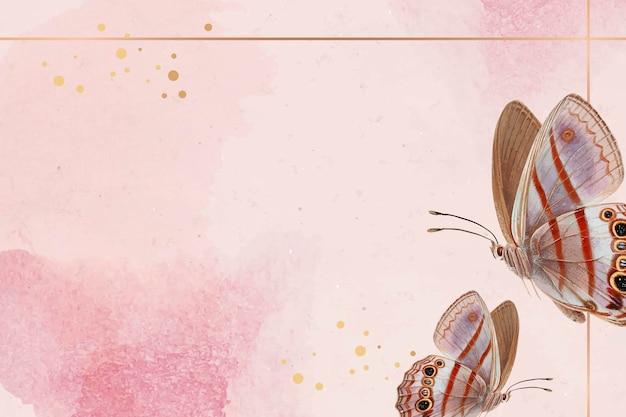 背景にピンクの蝶