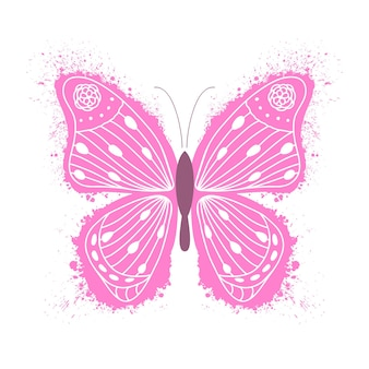 Pink butterfly with hand drawn pattern in white background.