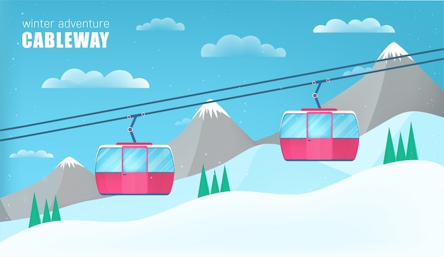 Pink cable cars moving above the ground against winter landscape with ski slope covered with snow, trees and mountains on background