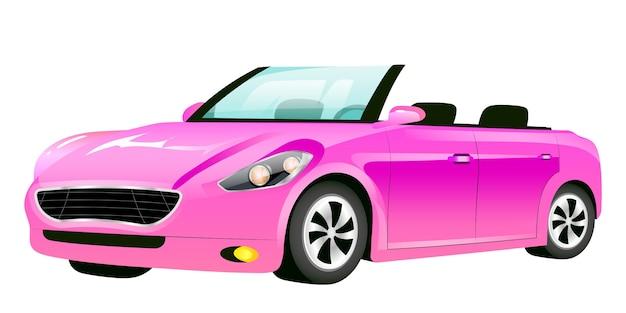 Розовый кабриолет иллюстрации шаржа. стильный женский автомобиль, девчачий авто без крыши, плоский цветной объект. роскошный личный транспорт без крыши на белом фоне