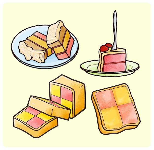 シンプルな落書きスタイルのピンクのケーキコレクション