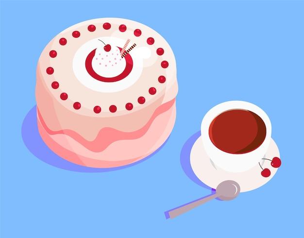 さくらんぼとソーサーにお茶を入れたピンクのケーキ