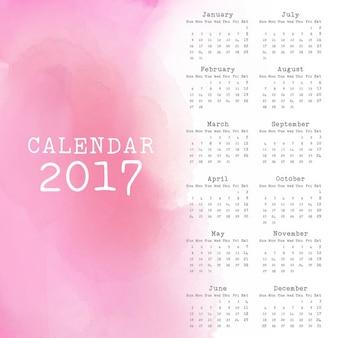 Дизайн календаря на 2017 год с эффектом акварели
