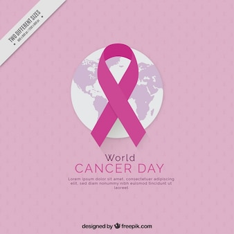 Pink cancer world day background with a ribbon