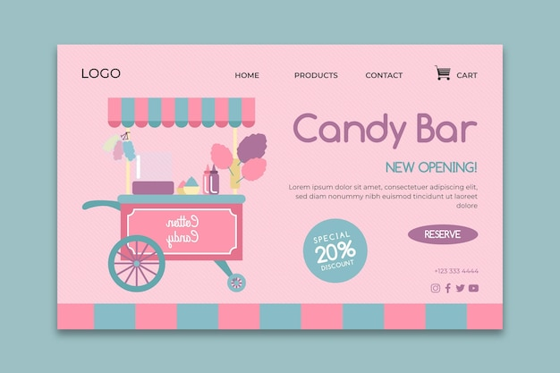 Pink candy bar business landing page web template