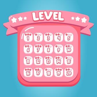 ピンクのキャンディーレベルのモバイルゲームインターフェイスデザイン甘い漫画プレミアムベクトル