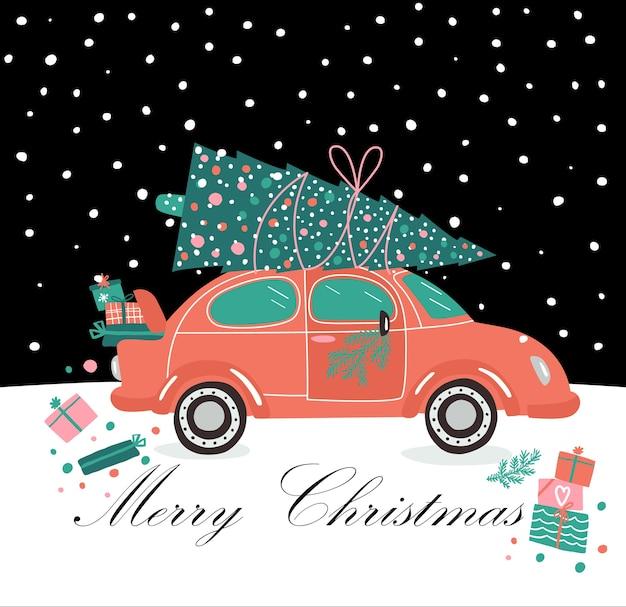 Розовый автомобиль и рождественские подарки и елка. рождественская картинка. красный пикап. служба доставки новогодних иллюстраций.