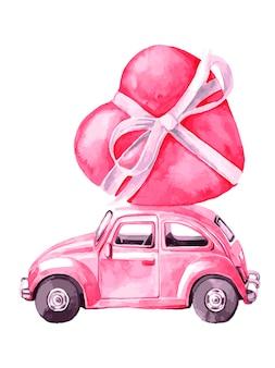 バレンタインデーの屋根にハートのピンクの車